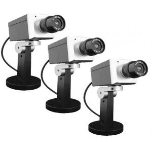 Lot de 3 caméras factice Grise pivotante