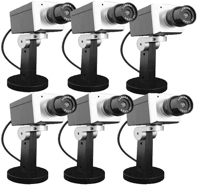 Lot de 6 caméras factice Grise pivotante