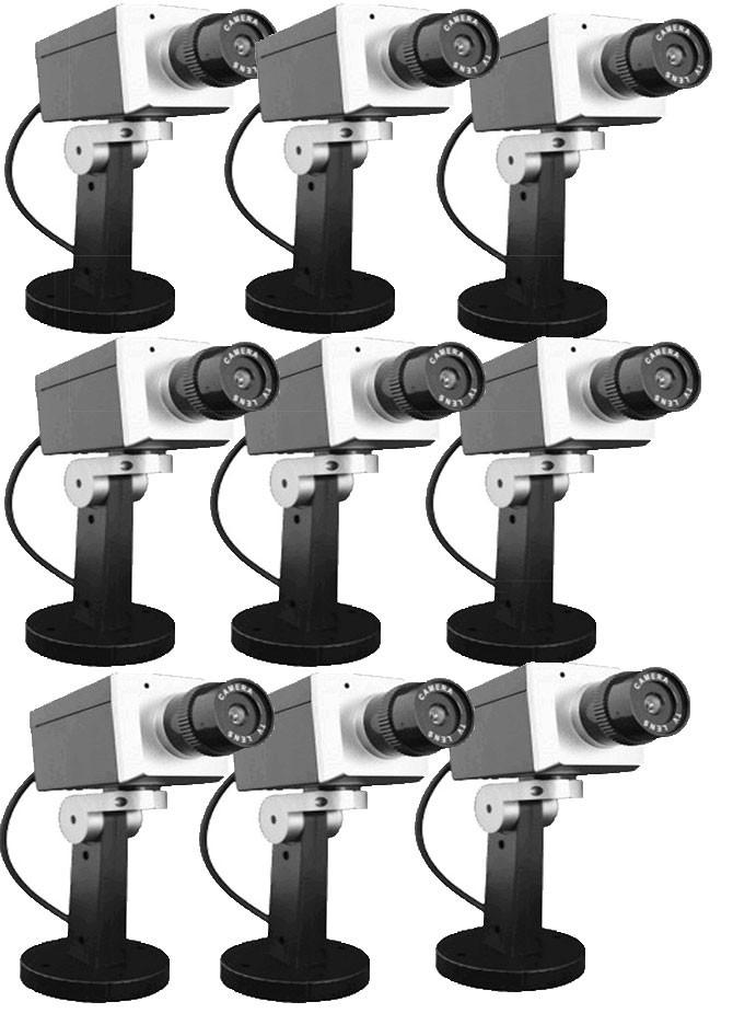 Lot de 9 caméras factice Grise pivotante
