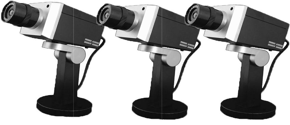 Pack de 3 caméras factice rotative noir