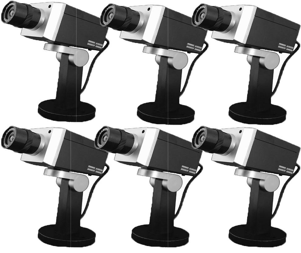 Pack de 6 caméras factice rotative noir