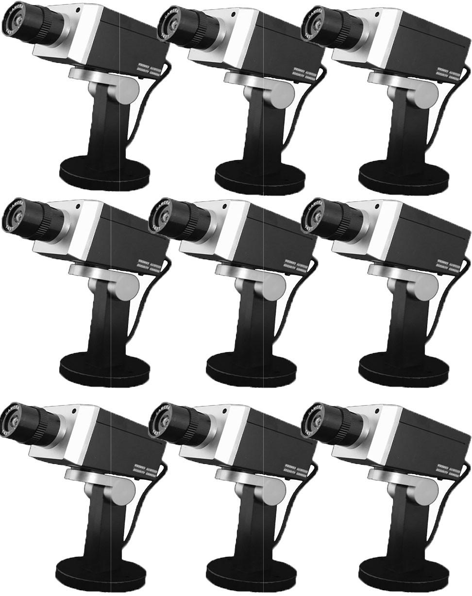 Pack de 9 caméras factice rotative noir