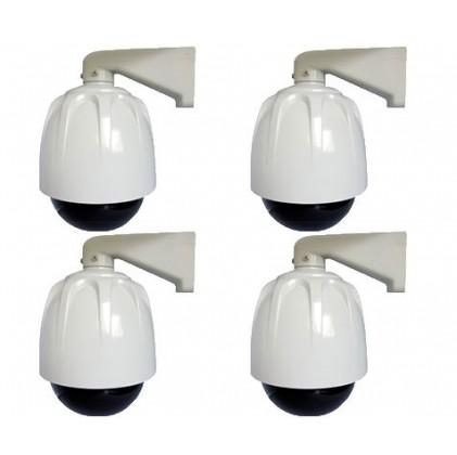 Lot de 4 caméras factice Dome blanc