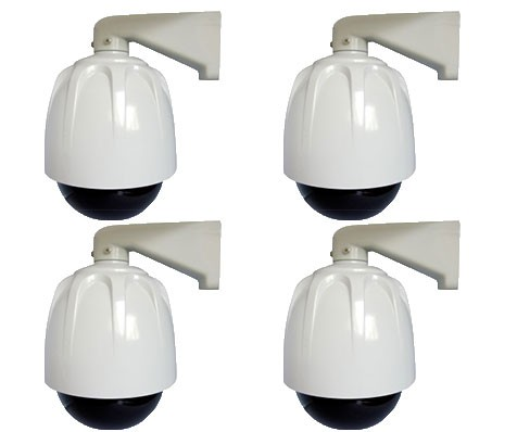 Lot de 4 caméras factice Dome blanc