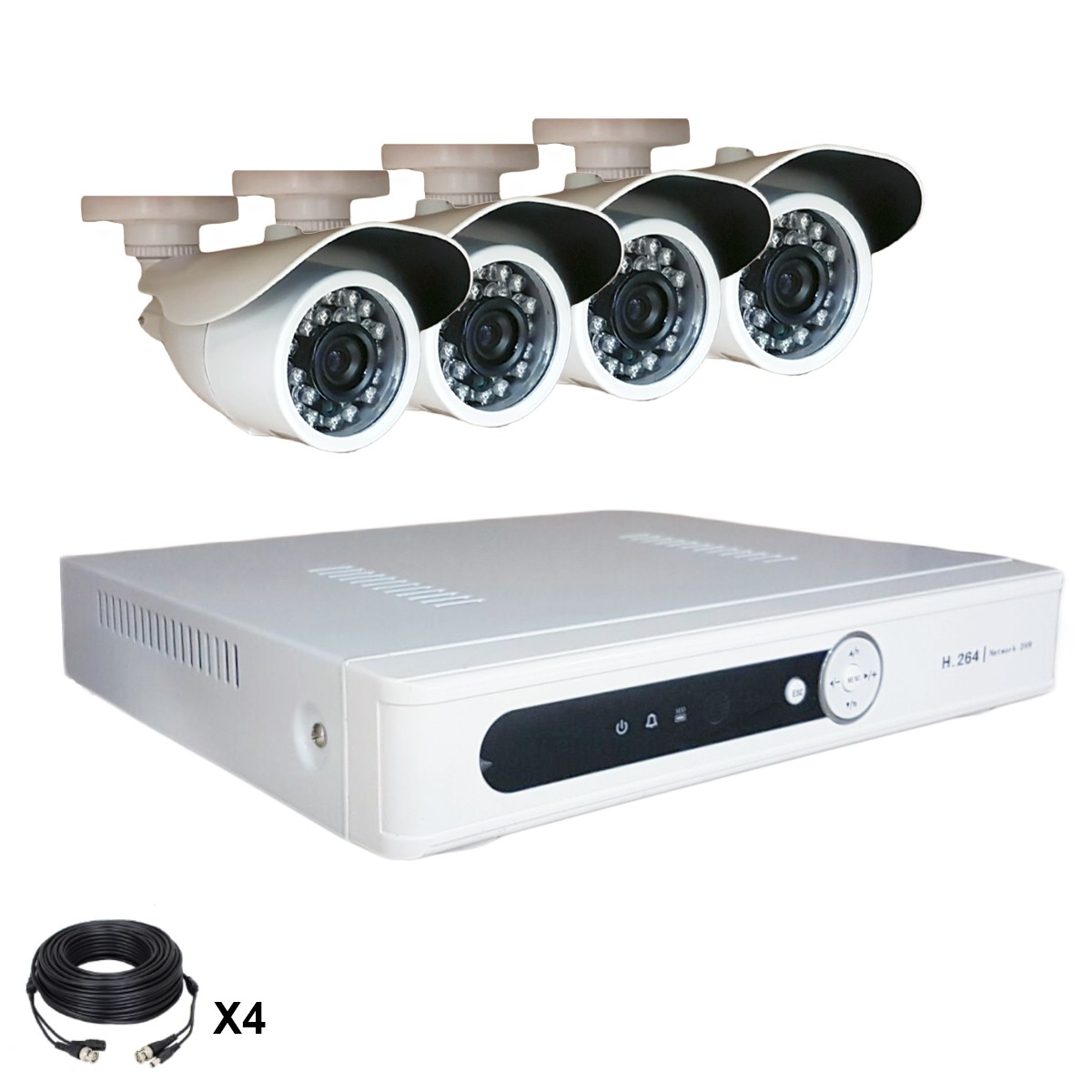 Système vidéosurveillance 4 canaux + 4 caméras + Câbles