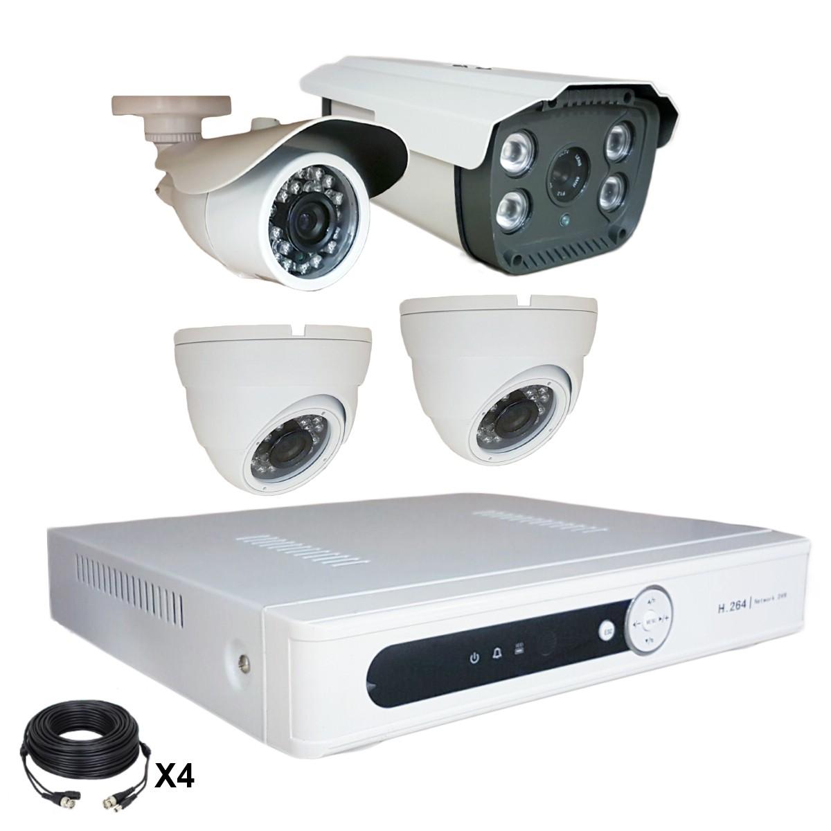 Système vidéosurveillance 4 canaux + 2 dômes + 1 caméra + 1 caméra faciale + câbles