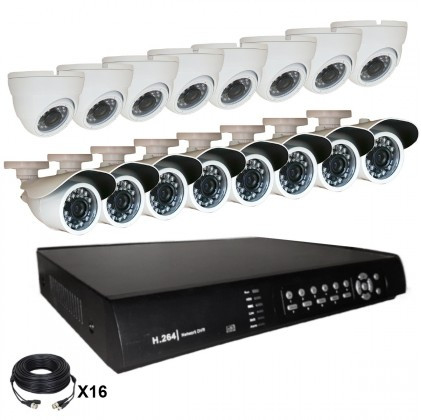 Système vidéosurveillance 16 canaux + 8 dômes + 8 caméras + câbles