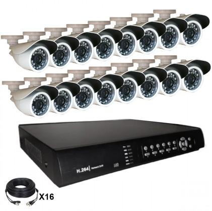 Système vidéosurveillance 16 canaux + 16 caméras + câbles