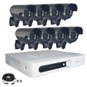 Système vidéosurveillance 8 canaux + 8 caméras + câbles