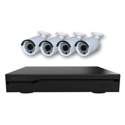 Système vidéosurveillance NVR 6 canaux + 4 caméras 720P / Switch