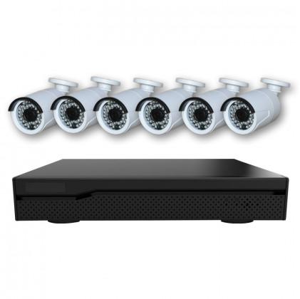 Système vidéosurveillance NVR 6 canaux + 6 caméras 1080P / Switch