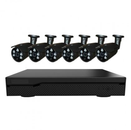 Système vidéosurveillance NVR 6 canaux + 6 caméras flash 5MP / CPL