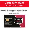 Carte SIM M2M 40min ou 100 SMS