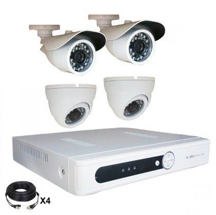 Système vidéosurveillance 4 canaux + 2 dômes + 2 caméras + câbles