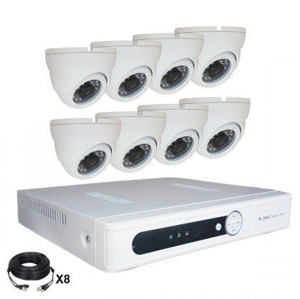 Système vidéosurveillance 8 canaux + 8 dômes + câbles