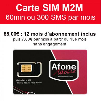 Carte SIM M2M 60min ou 300 SMS 12 mois