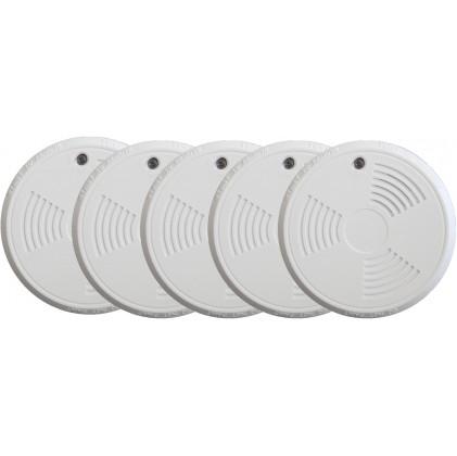 Pack de 5 détecteurs de fumée tike sans fil norme EN14604