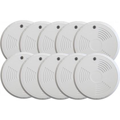Pack de 10 détecteurs de fumée tike sans fil norme EN14604