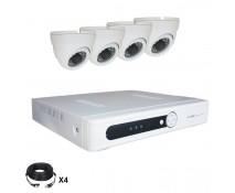Système vidéosurveillance 4 canaux + 4 dômes + câbles