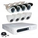 Système vidéosurveillance 8 canaux + 4 dômes + 4 caméras + câbles