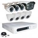 Système vidéosurveillance 8 canaux + 4 dômes + 3 caméras + 1 caméra faciale + câbles