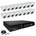 Système vidéosurveillance 16 canaux + 16 dômes + câbles